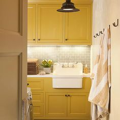 Yellow and Gray Laundry Room