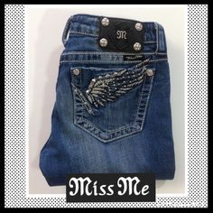 "MISS ME Straight Jeans MISS ME Straight Jeans. Angel wings on back pockets. Rhinestone, stud and embroidery details. Inseam is approx 32.5"". StyLe # JP533273. EXCELLENT CONDITION! Miss Me Jeans"