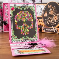 Funky #card inspiration from the #Lellibots #Crafts #Gothic Lace Collection! Shop now: http://www.createandcraft.tv/Lelli-Bot_Crafts_Fullworks_Kit-336056.aspx?fh_location=//CreateAndCraft/en_GB/$s=Lelli-Bot%20Crafts #papercraft #cardmaking