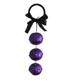 Purple Pumpkins Jingle Bell Door Knob Hanger
