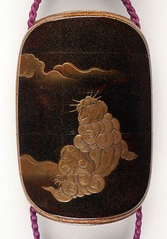 Jokasai III (Japan, died N/A) Inro, Ojime, Netsuke, late 18th - early 19th century Costume/clothing accessory/waistwear, Four-case inro with design of Fusehime in gold takamakie and gray and black lacquer on togidashi ground of gold dust on black lacquer; red-lacquer Daruma ojime; ivory netsuke of five children,