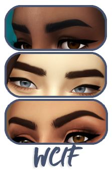 wcif the eyebrow on all of your sims from the Ea bob hair revamped? Thx x Hello! These are a part of Praline Sims' Maxis Match Eyebrow Pack And these are Sims 4 Cc Eyes, Sims 4 Mm Cc, Sims 4 Cc Skin, Sims Four, Sims 4 Game Mods, Sims Games, Elf Make Up, Maxis, Laura Geller
