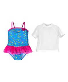 738cc0881c28 JumpN Splash Blue Confetti One-Piece & Rashguard - Toddler | zulily Daddys Little  Girls