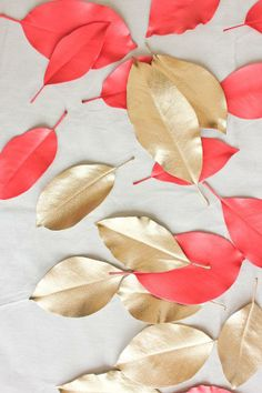 Painted gold & coral leaves.