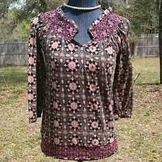 Print Top Cute top with 3/4 length sleeves. Smocking around neck and hem. Nice lightweight material for summer. Lucky Brand Tops
