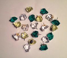 Decorative Thumbtacks CLEAR Push Pins, Sparkle Gem PushPins ...