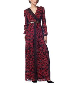 Another great find on #zulily! Red & Black Floral Belted Maxi Dress #zulilyfinds