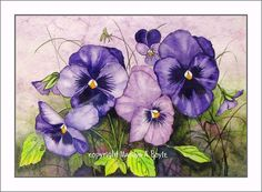 MATTED ORIGINAL WATERCOLOR of Pansies by OriginalSandMore on Etsy, $75.00