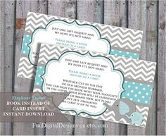 Book instead of card insert Baby Elephant little peanut , Grey blue Chevron Theme Baby Shower, printable, digital file, DIY.  Sanna, you could print these!