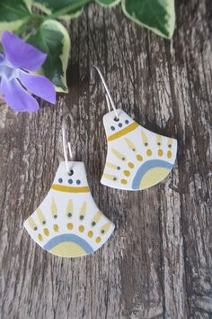 I love creating small pieces of art you can wear every day Art Pieces, Dots, Mexican, Stripes, Hand Painted, Fan, Ceramics, Drop Earrings, Christmas Ornaments