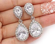 Wedding Earrings Platinum plated Zirconia Earrings Wedding Jewelry Bridesmaid Earrings Bridal Earrings Wedding Accessory Bridal Jewelry