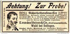Original-Werbung/ Anzeige 1897 - SICHERHEITS-RASIERMESSER / VON DEN STEINEN - WALD / SOLINGEN - ca. 90 x 45 mm