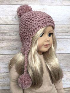 DIY Crochet Pattern  18 inch Doll Pom Pom Earflap Hat PDF 24