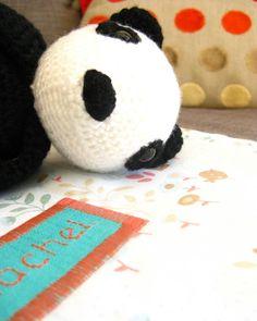 """Voici Nougat le Panda! Je l'ai crocheté l'année dernière pour la naissance d'une petite Rachel grâce au livre """"Crochet, des creations pour"""