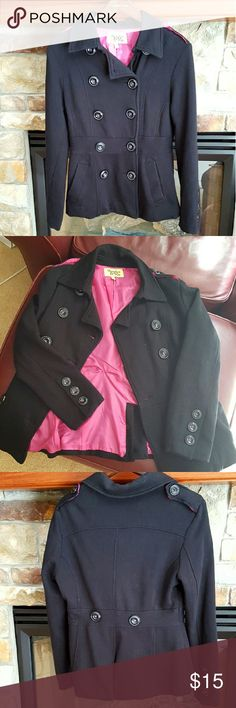 Black Coat Light winter coat with an adorable hot pink lining. Super soft material- shell (80% cotton, 20% polyester), lining (100% polyester). I'm selling because I live in Wisconsin & need something a bit warmer! Very comfortable, only used once for a special occasion. No rips, stains, or pilling! Feel free to ask questions and make offers! Maralyn & Me Jackets & Coats Pea Coats