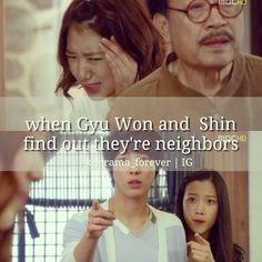 Oh my word! This was hilarious when they found they were gonna be neighbors. Lol! | Heartstrings | Park Shin Hye as Lee Gyu Won and Jung Yong Hwa as Lee Shin