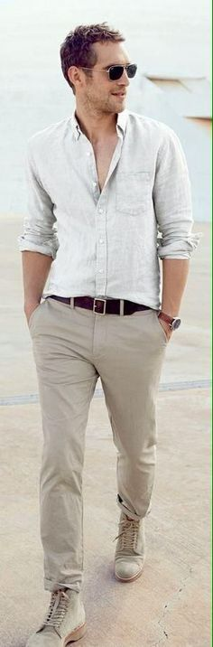 cd997a47361 Linen neutral color pants rolled up with leather belt and boots Linen Shirts  For Men