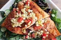 Spicy Salmon Salad with Charred Corn and Cilantro Drizzle