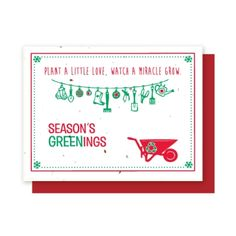 Grow-A-Note® Love, Grow Seasons Greenings - Green Field Paper Company plantable seed embedded holiday card