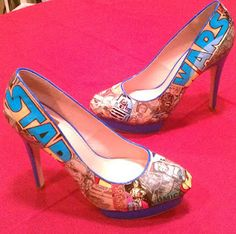 How to make Geeky Shoes. If I ever wear heels, they'll be like this.