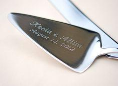 Wedding Cake Knife And Server Set Laser Engraved By Beadz2pleaz