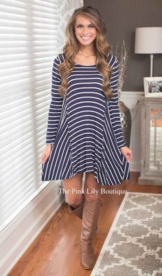 Stripes are always a good detail choice for any outfit, and it's definitely no exception on this dress! The flowy look and lightweight, soft material is a great combination!