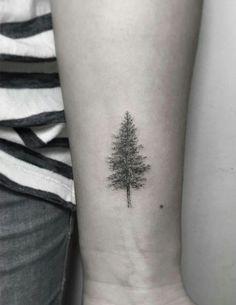 45 Most Awe-Inspiring Dotwork Tattoo Designs - Dotwork tree tattoo by Zeke Yip - Redwood Tattoo, Georges Seurat, Mini Tattoos, Small Tattoos, Natur Tattoos, Pine Tree Tattoo, Evergreen Tree Tattoo, Tattoo Zeichnungen, Tattoo Hals