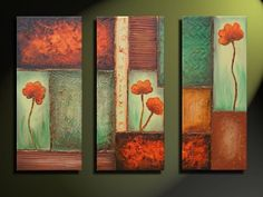 Discover recipes, home ideas, style inspiration and other ideas to try. 3 Canvas Paintings, Canvas Wall Art, Home And Deco, Abstract Flowers, Pictures To Paint, Abstract Canvas, Diy Painting, Painting Inspiration, Diy Art