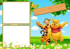 MARCOS PARA PHOTOSHOP Y ALGO MAS: WINNIE POOH Disney Photo Frames, Disney Frames, Winnie The Pooh Cake, Winnie The Pooh Friends, Bear Birthday, Birthday Board, Picture Frame Layout, Pooh Bebe, Baby Boy Background