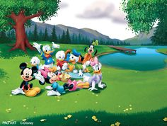 In The Park With Mickey Large Full Wall Mural, Mickey & Friends Large Full Wall, Fantasy Art Trading's Online Store