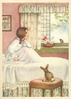 "You Sleepyhead by Millicent Sowerby (1878–1967, English)  A Child's Garden Of Verses by Robert Louis Stevenson. Published by Chatto & Windus, 1908 editon  A birdie with a yellow bill Hopped upon my window sill, Cocked his shining eye and said:""Ain't you 'shamed, you sleepy-head!"""