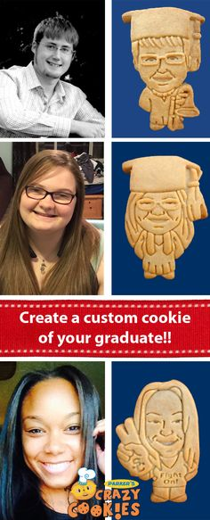 Throw the most unforgettable graduation party with custom cookies to look like your graduate!! Discover the magic at www.parkerscrazycookies.com. As seen on the Today Show & the Food Network.