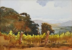 Mountain Vineyard on a Cloudy Day by Larry Cannon Watercolor ~ 10 x 14
