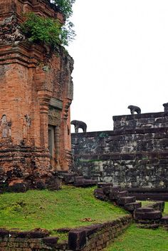 Carved elephants at one of the temples of the Roluos Group, near Angkor Wat,Cambodia