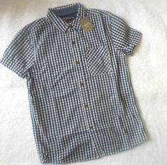 Next Boy Navy/White Gingham Check Short Sleeves Shirts Top 10yrs School Uniform | eBay