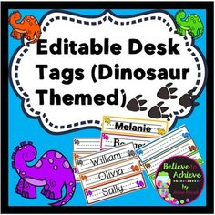 Your students will LOVE these dinosaur themed desk/name tags! You can edit them by adding each student's name.Then just cut out and laminate for easy use in the classroom! I've included 36 color dinosaur name tags and a black and white version in case that best suits your needs.
