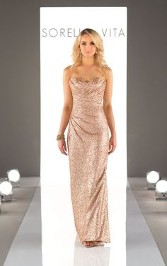 Featuring a criss-cross bodice, this stunning sequin gown adds the perfect amount of sparkle to your bridal party's style. This floor length gown is also available in cocktail length as Style 8833 in Rose Gold by Sorella Vita