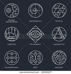 Illustrations and logo templates of fundamental science disciplines, research and education. Language, Biology, Genetics, Physics, Arts, Geography, Mathematics, Philosophy. Detailed vector icons set.
