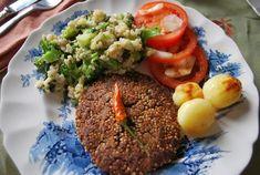Receita de Hamburguer de feijão preto com quinoa - sal e pimenta a gosto, 3/4 xícara (chá) de quinoa em grãos cozida (vermelha ou branca), 1 colher (sopa) d...