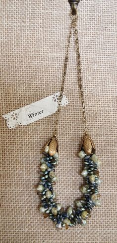 Blue Beaded Kumihimo Necklace Antique Gold by JasmineTeaDesigns, $160.00