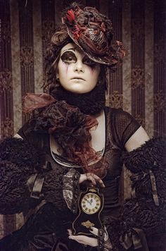 """Steampunk / Victorian inspired fantasy make-up with crystal accented """"tears""""."""