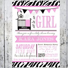 Safari Zebra Print Baby Shower Invitations by BigDayInvitations, $8.99