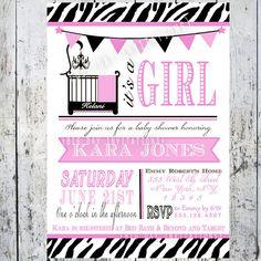 Safari Zebra Print Baby Shower Invitations by BigDayInvitations, $8.99