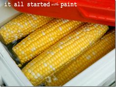 Cooler Corn (@ It All Started With Paint):  Put a giant pot of water on the grill. While it works up to a rolling boil, husk a bunch of ears of corn.  Place the shucked ears of corn in a clean cooler.  When that water boils, fill the cooler with it.  Corn will stay hot all day long.