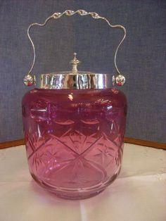 Victorian cranberry glass biscuit barrel