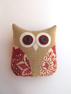 animal pillow, owl pillow, decorative burlap pillow, rustic country red patriotic and ivory pillow, rustic decor, burlap home decor on Etsy, $36.00
