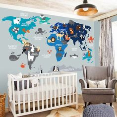 Nursery Wall Decal - Wall Decal Nursery - World Map Decal - Map decal - Children Wall decal - Map wall decal - World decal- World Map  sc 1 st  Pinterest & HUGE 4u0027 x 4u0027 Kidsu0027 World Map Wall Stickers/Decals - Educational Wall ...