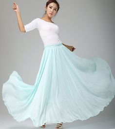 An ethereal blue chiffon skirt, one of my absolute favorites. It's simple but so beautiful. It looks like the bottom of a waterfall!