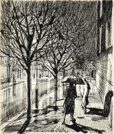 František Hudeček (Czech, 1909 - 1990) -Raining evening - 1943