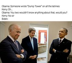 Dump Tower. Go, Joe! Joe Biden Meme, Joe And Obama, Obama And Biden, Funny Cute, The Funny, Hilarious, Obama Funny, Political Memes, Funny Stories